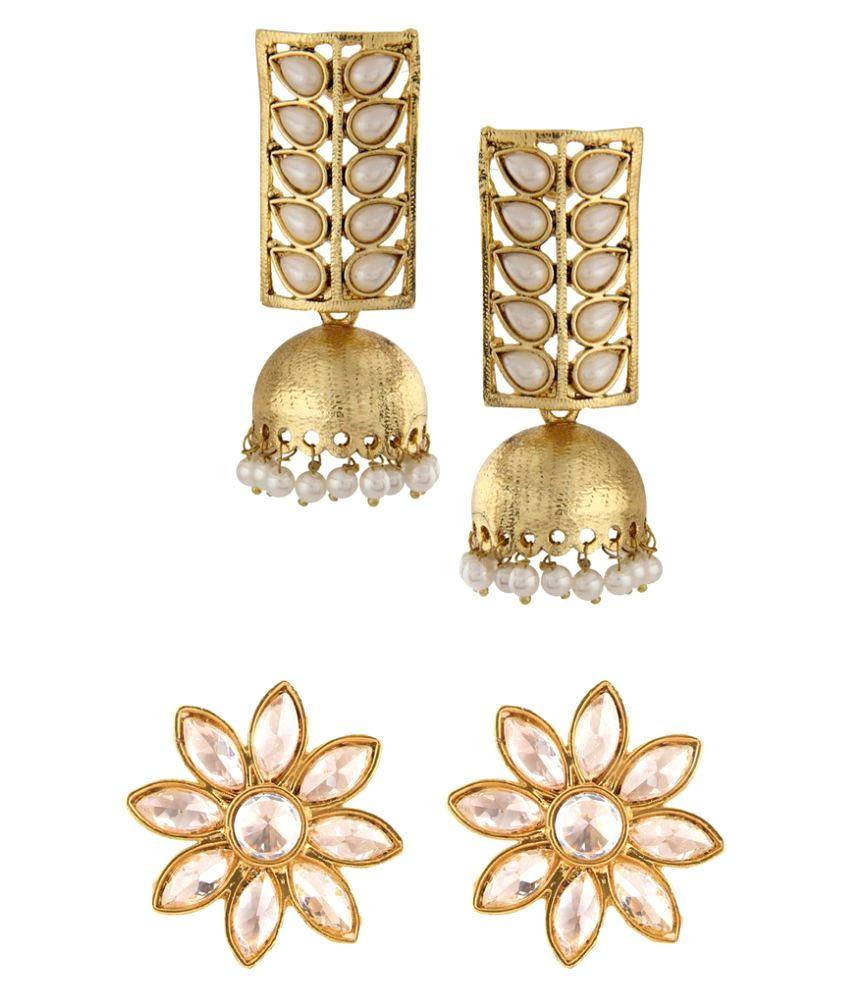 The Jewelbox Golden Kundan Reverse CZ Stud Designer Pearl Flower Jhumki Earring Combo For Women