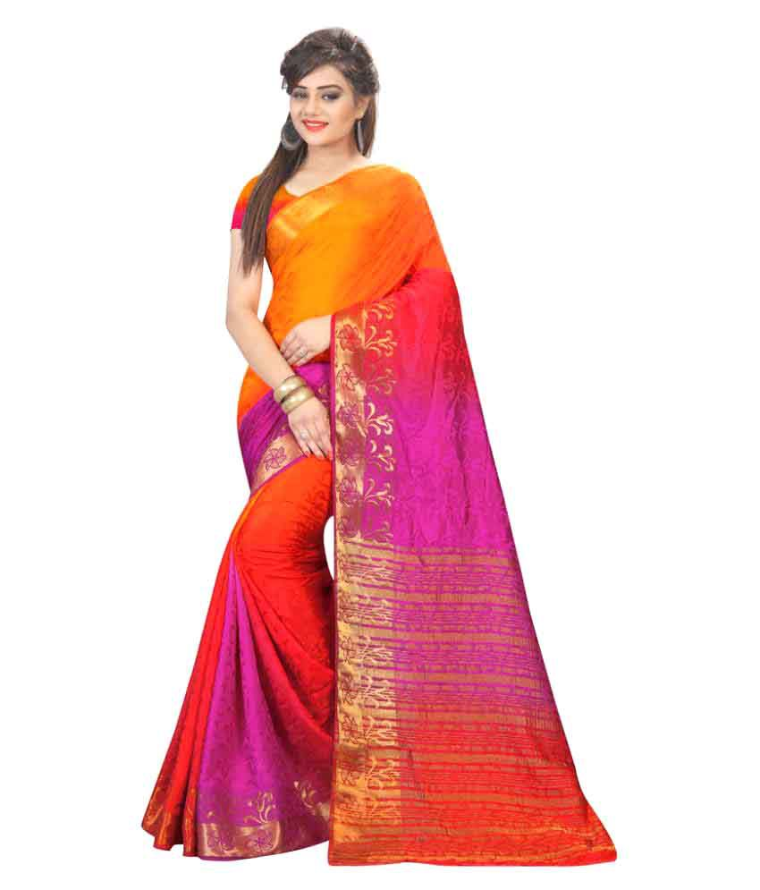 Well Tex Multicoloured Banarasi Silk Saree
