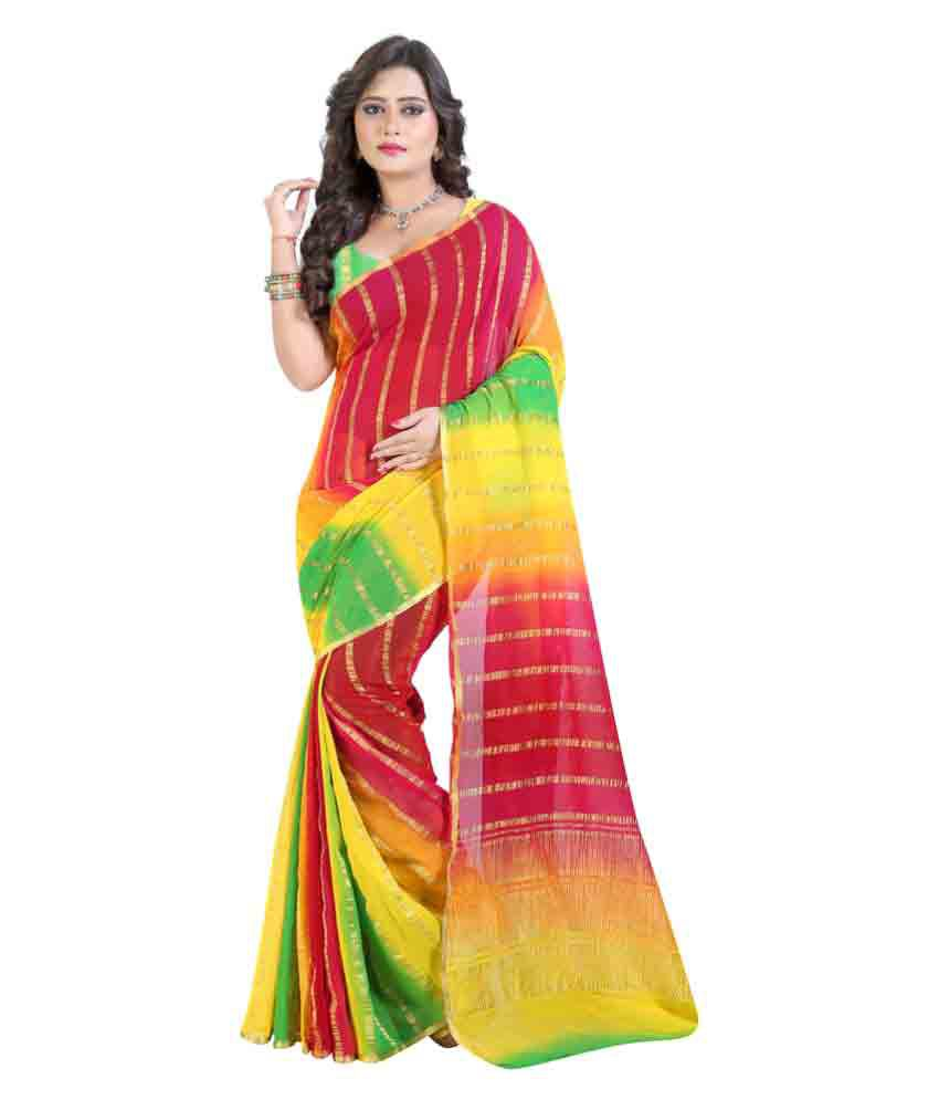 Well Tex Multicoloured Jacquard Saree