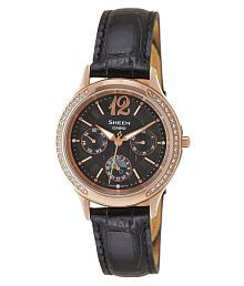 Casio Black Leather Analog Watches