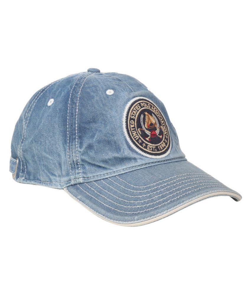 U.S. Polo Assn. Blue Printed Cotton Caps - Buy Online   Rs.  f406da0adce