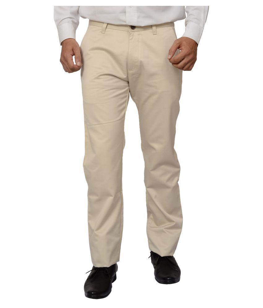 Khaki Blue Off White Regular Flat Trousers