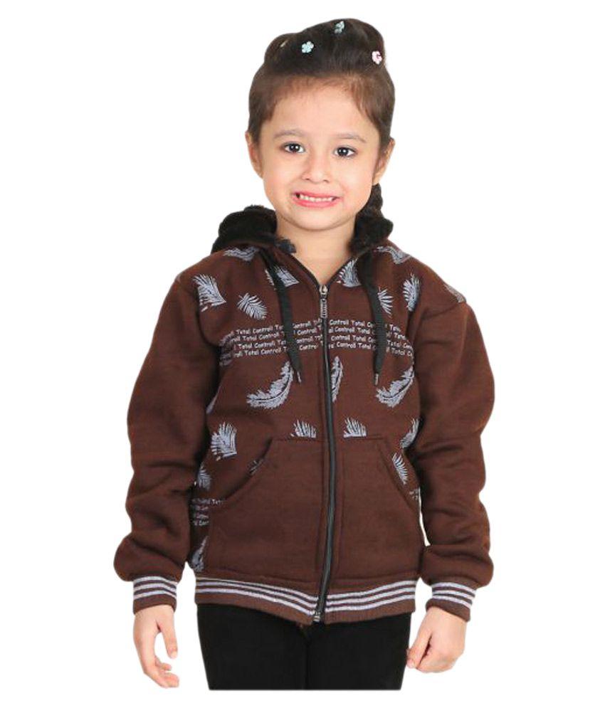 Qeboo Brown Woven Light Weight Comfortable Jacket for Girls