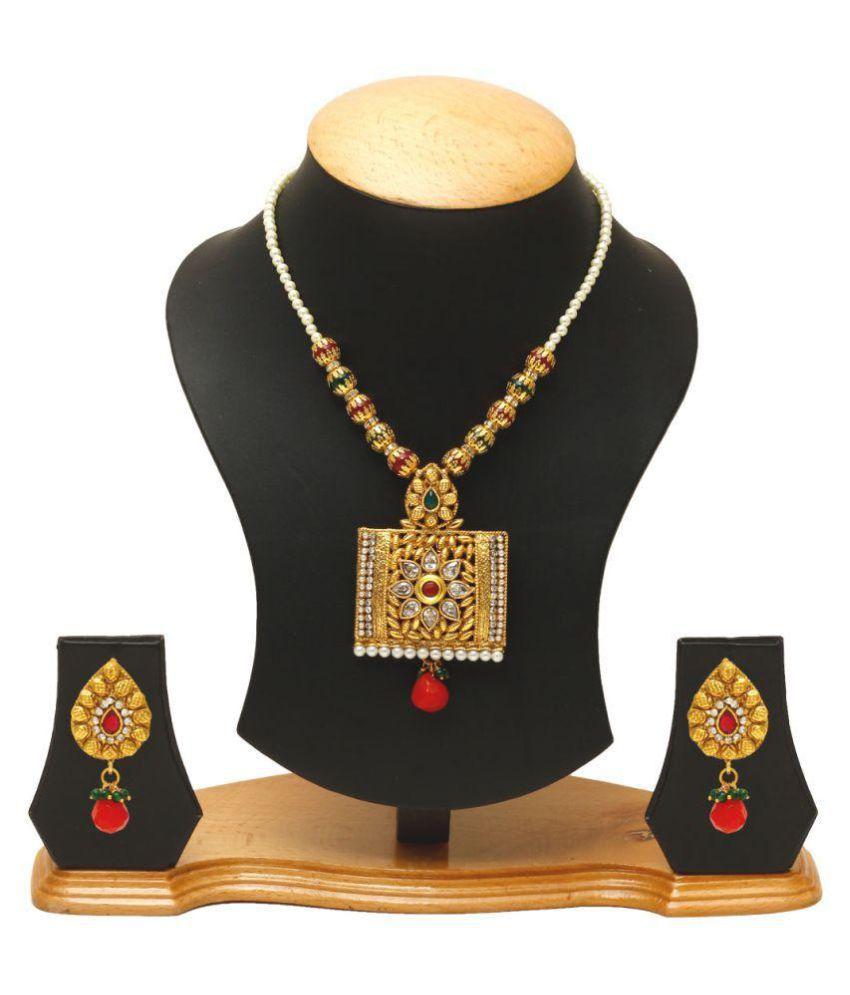 Jewels Galaxy Golden Copper Necklace Set