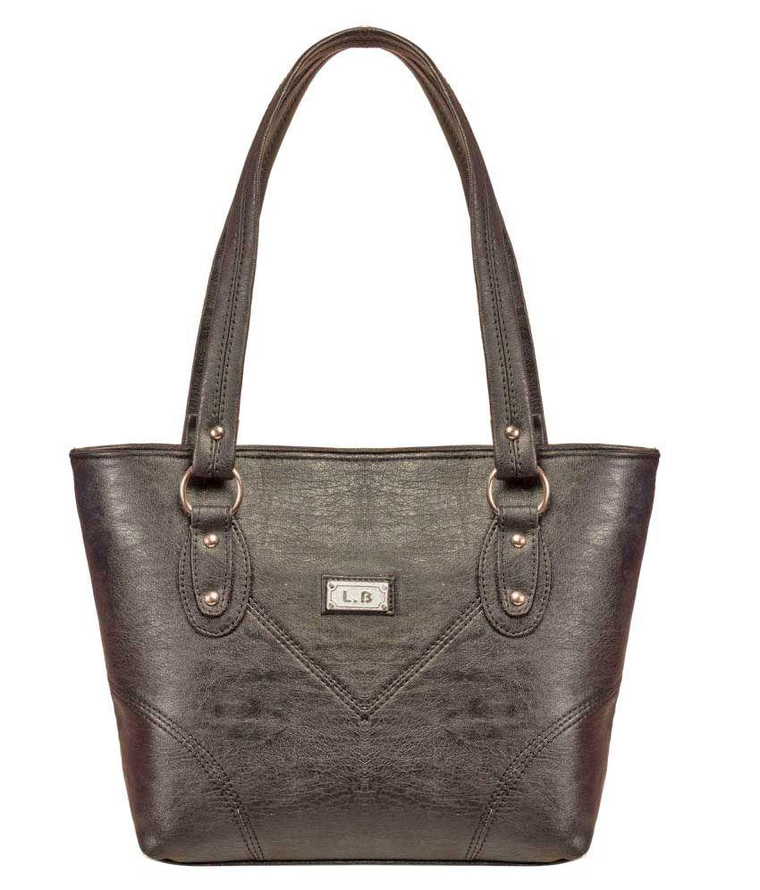 Louise Belgium Black Faux Leather Shoulder Bag