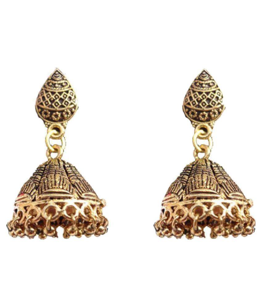 Kaizer Jewelry Golden Pearl Designer Jhumki Earrings