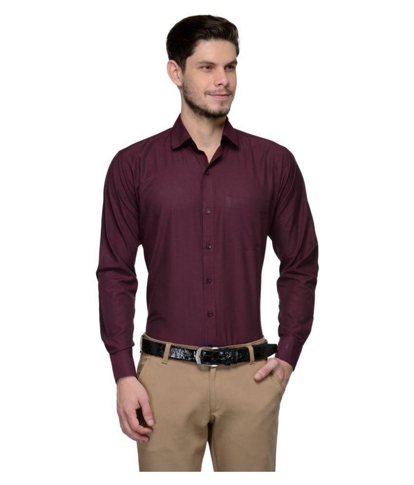 Koolpals Maroon Formal Regular Fit Shirt