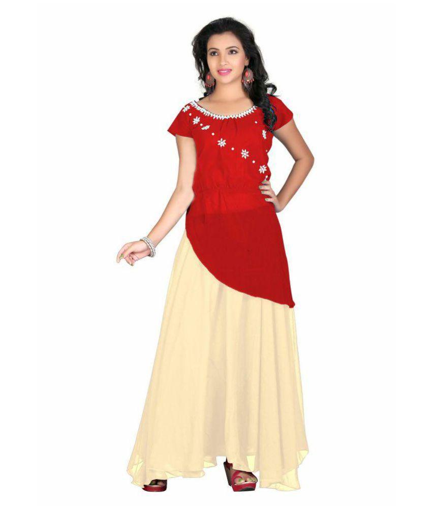 Reyansh International Red Georgette Anarkali Gown Stitched Suit