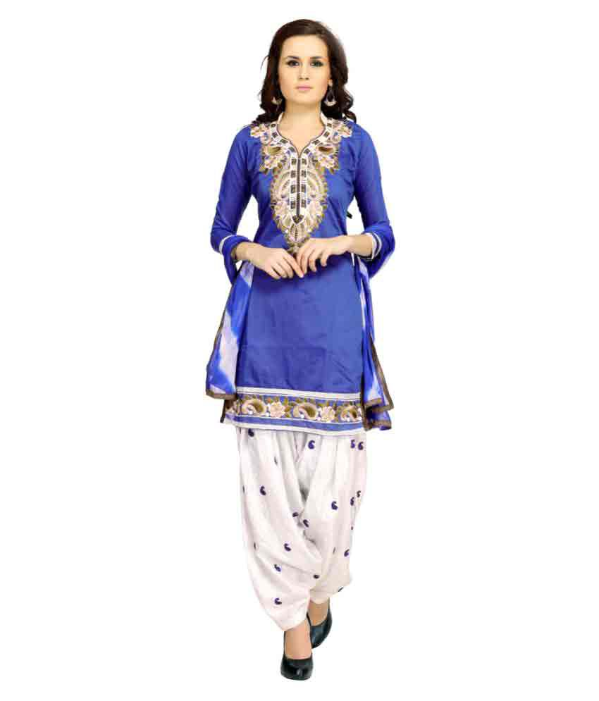 Zoro Blue Chanderi Dress Material