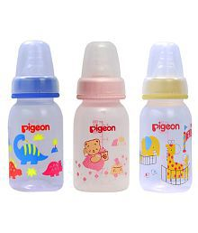 Pigeon Printed Peristaltic 120ml Nursing Bottle With L Size Nipple Pack Of 3