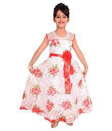 Arshia Fashions White Net Girls Gown