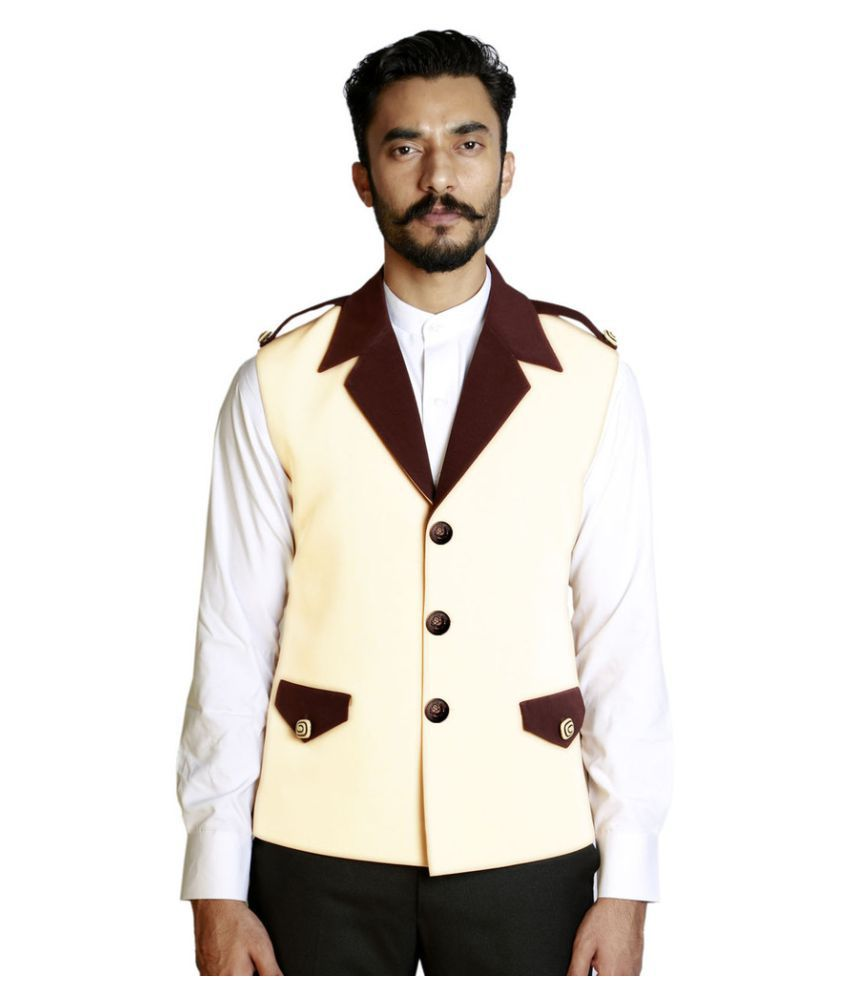 Fusion & Threads Off-White Plain Formal Waistcoats