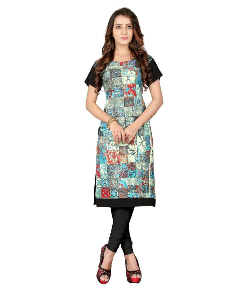 Naaidaakho Multicoloured Crepe Straight Kurti