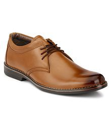 Leeport Tan Derby Artificial Leather Formal Shoes