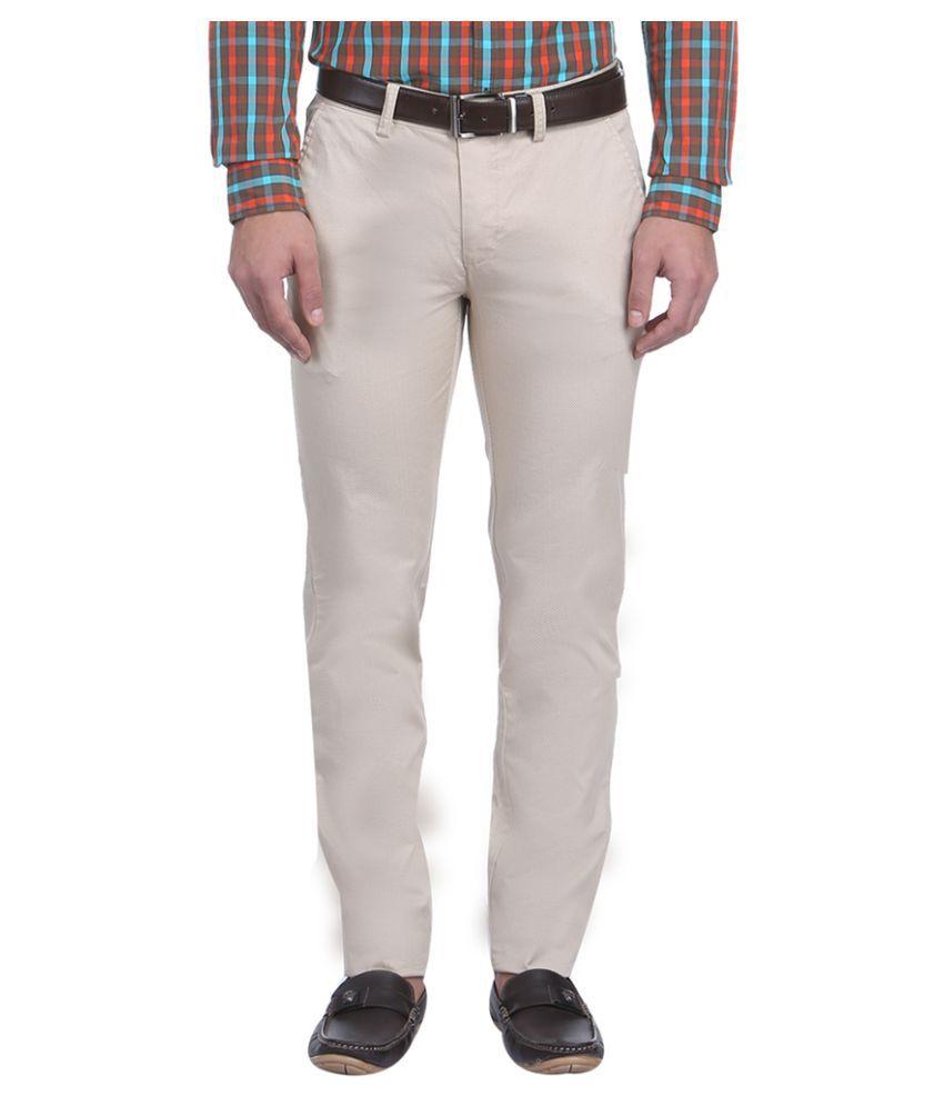 Park Avenue Beige Regular Flat Trousers