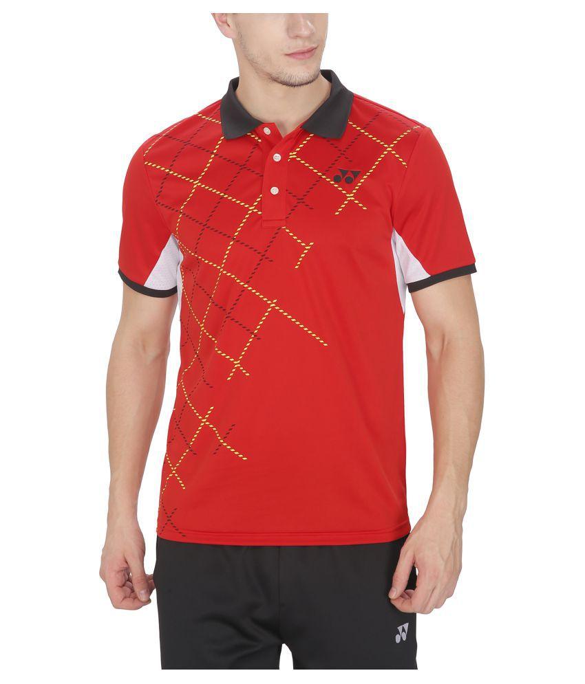 Yonex Red Polyester T-Shirt