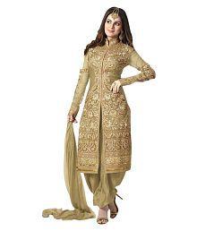 Fab Ikshvaku Gold Georgette Sherwani Suits Semi-Stitched Suit