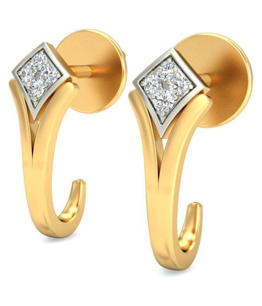 Gold24 18k Yellow Gold Diamond Huggies