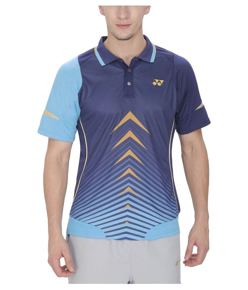 Yonex Blue Polyester Polo T Shirt
