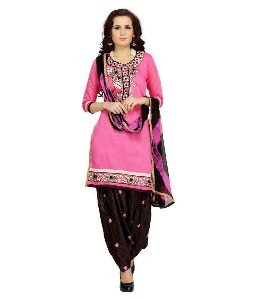 Zoro Pink Chanderi Dress Material