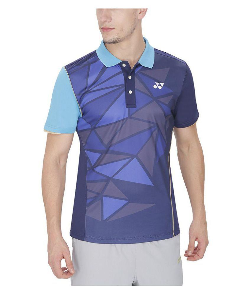 Yonex Blue Polyester Polo T-Shirt Single Pack