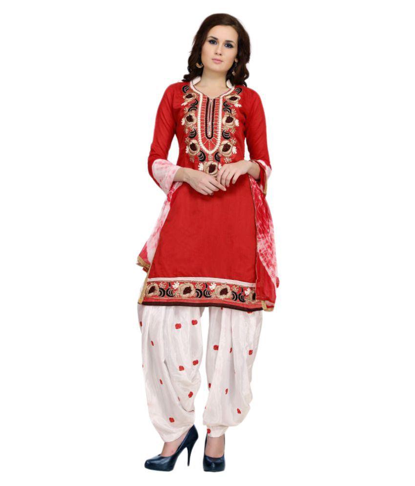 Zoro Red Chanderi Dress Material
