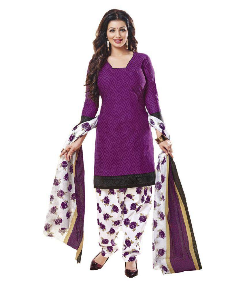Oin Creation Purple Art Silk Dress Material