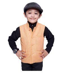 Fashion N Style Orange Viscose Nehru Jackets