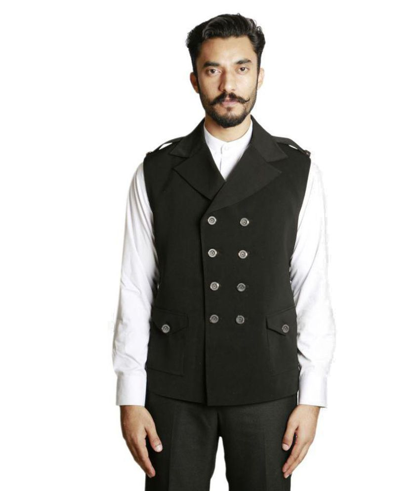 Fusion & Threads Black Plain Formal Waistcoats