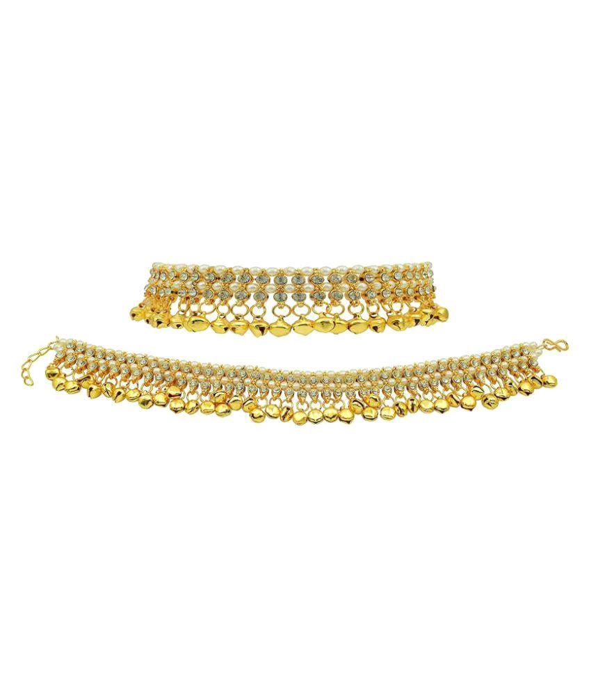 Jewels Gehna Golden Colour Anklet Set For Woman & Girls