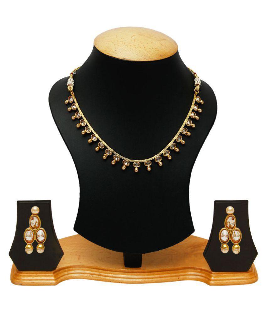 Jewels Galaxy Golden Alloy Necklace Set