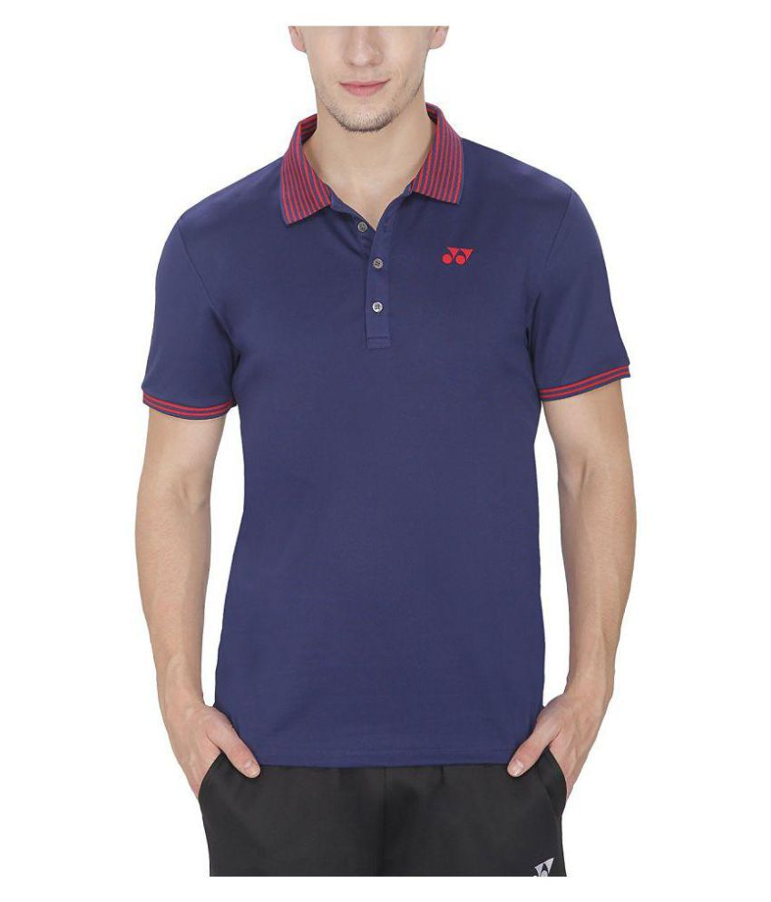 Yonex Navy Polyester Polo T-Shirt Single Pack