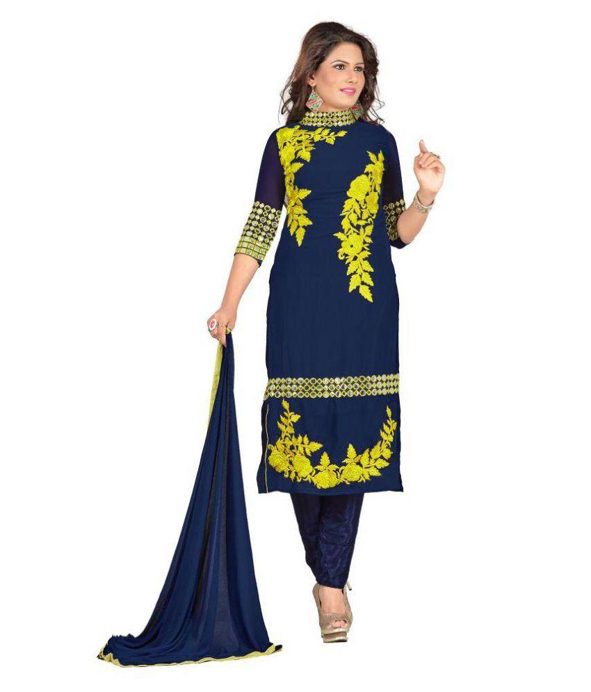 Shree Ganesh Textilee Navy Georgette Dress Material