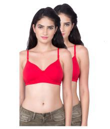 Dreams Red Cotton Lycra T-Shirt/ Seamless Bra - 672536347390