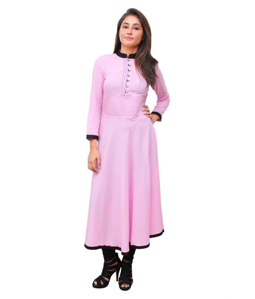 Vivo Moda Pink Rayon Anarkali Kurti
