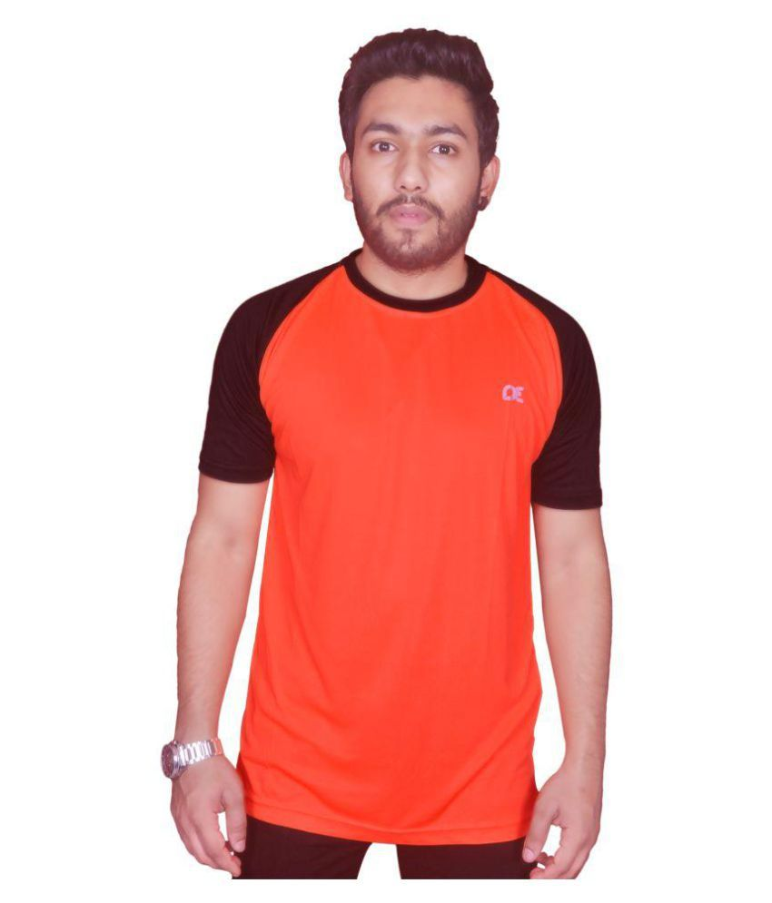 Dyed Colours Orange Polyester Lycra T-Shirt Single Pack