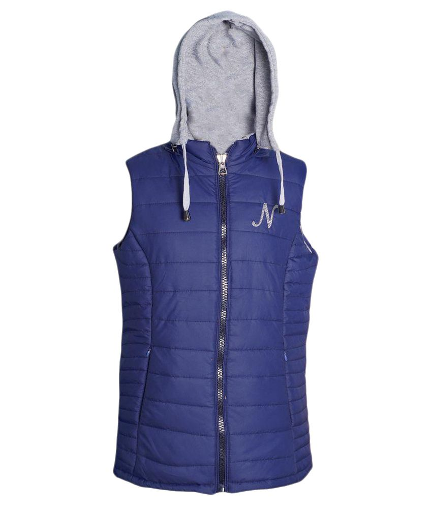 Naughty Ninos Girls Blue and Grey Reversible Padded Jacket