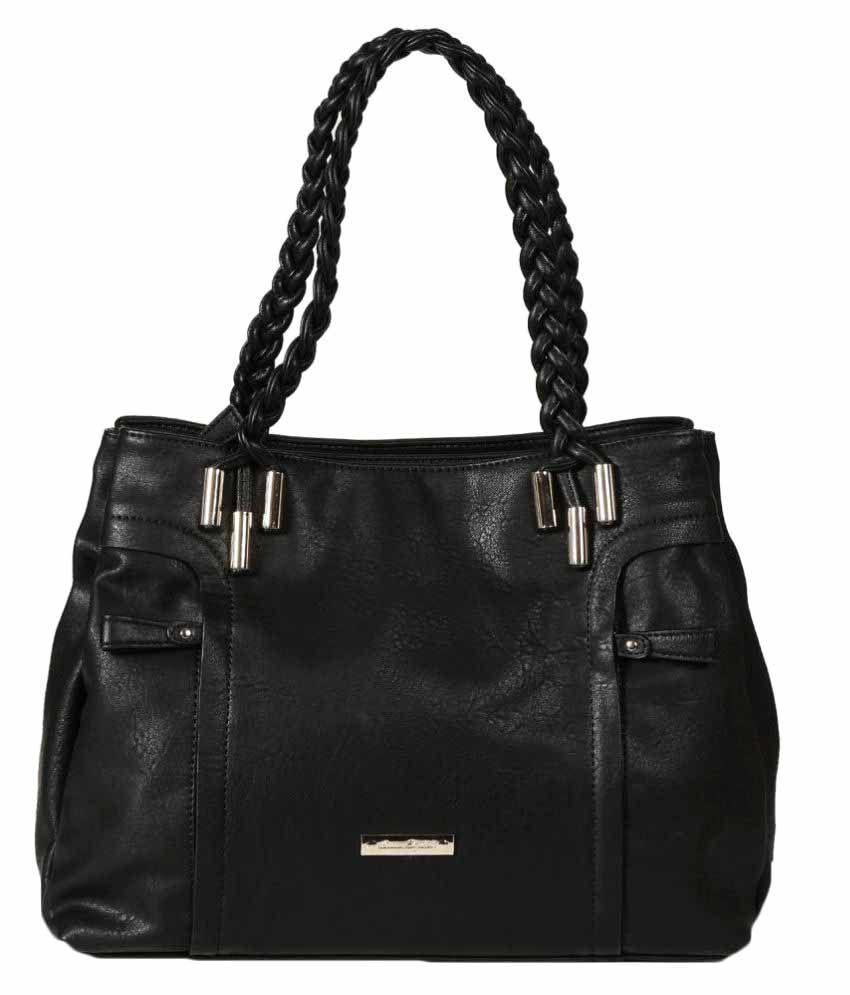 Leanore Elizabeth Black Faux Leather Shoulder Bag