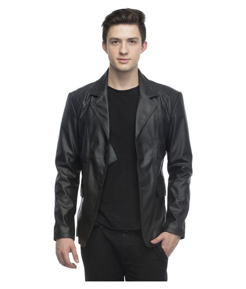Lambency Black Solid Casual Blazers