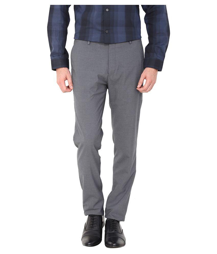 Arrow New York Grey Skinny Flat Trouser