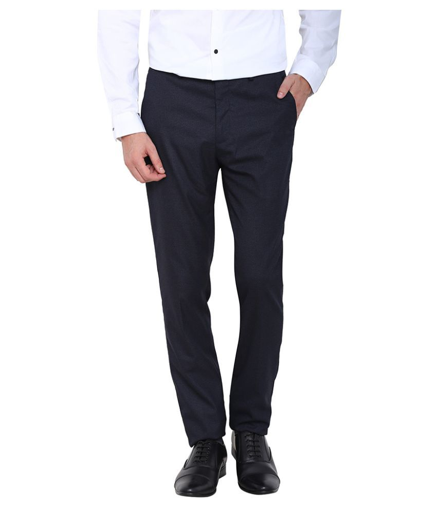 Arrow New York Navy Blue Slim Flat Trouser