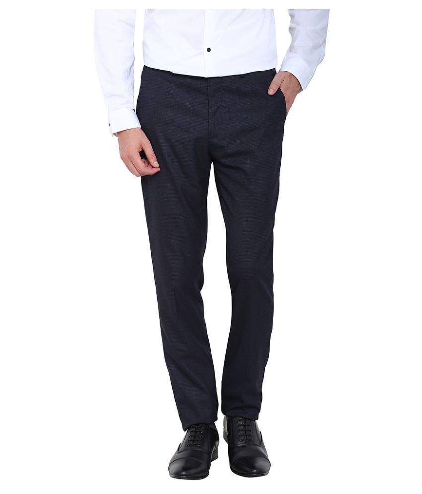 Arrow New York Navy Blue Slim Flat Trouser