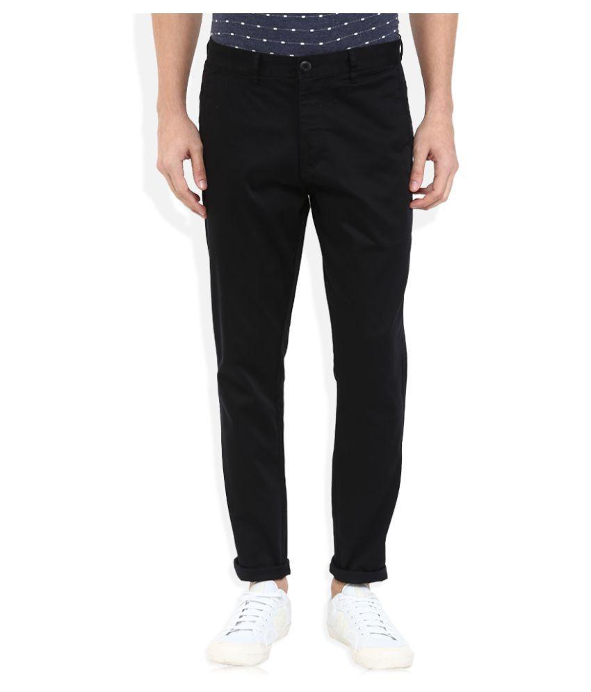 Indigo Nation Black Slim Flat Trouser