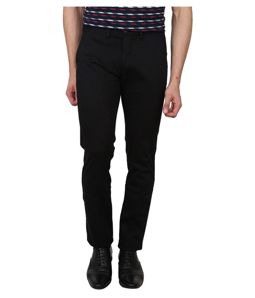 Arrow Sports Black Slim Flat Trouser