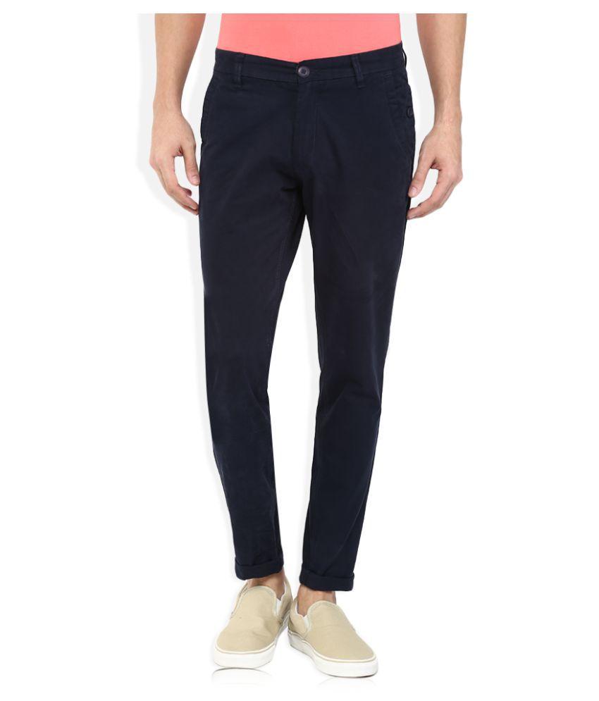 Indigo Nation Navy Blue Slim Flat Trouser