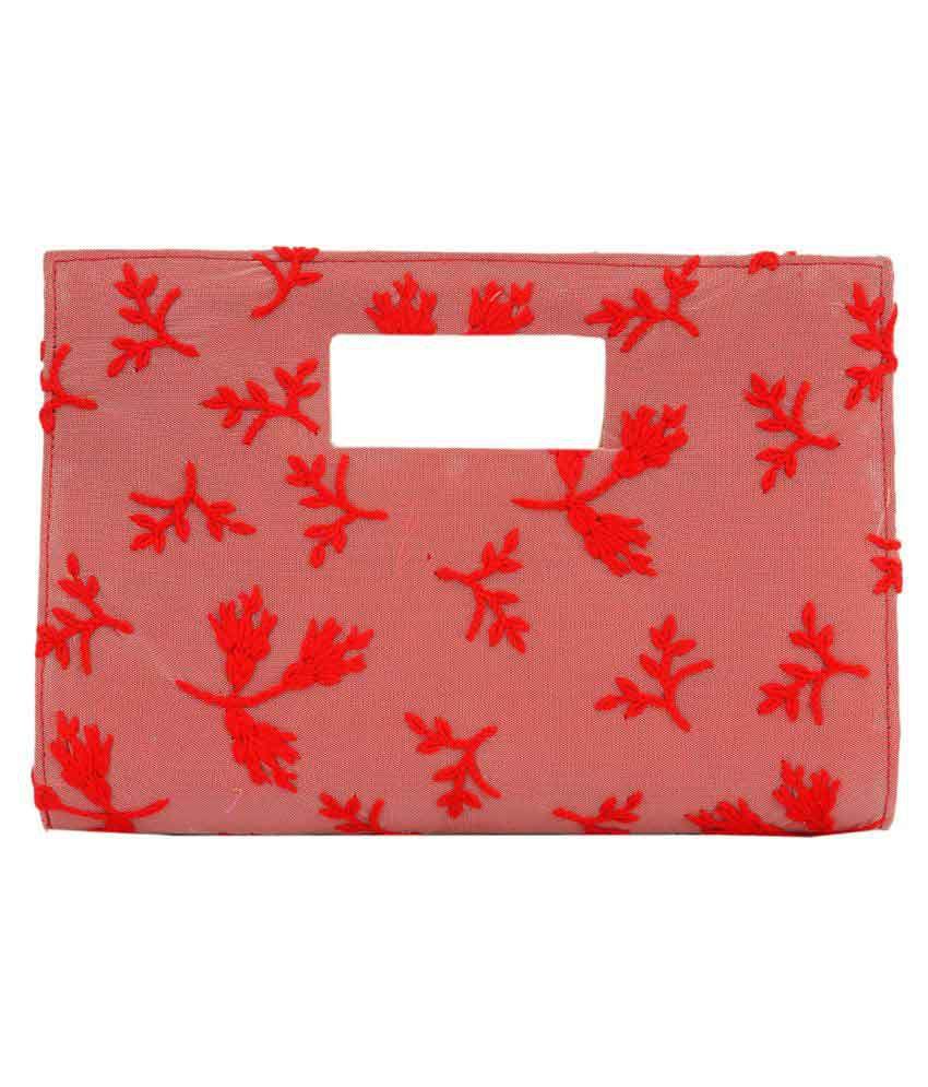 Satvah Red Silk Box Clutch