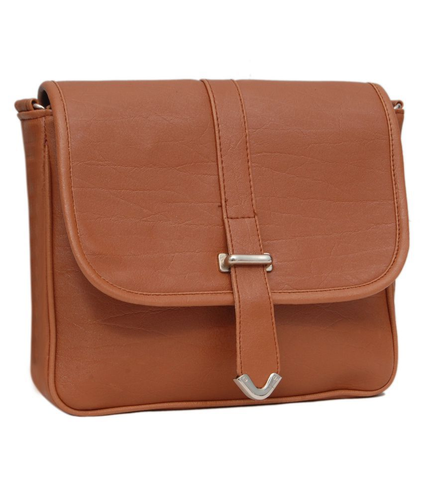 Borse Brown Faux Leather Sling Bag - Buy Borse Brown Faux Leather ...