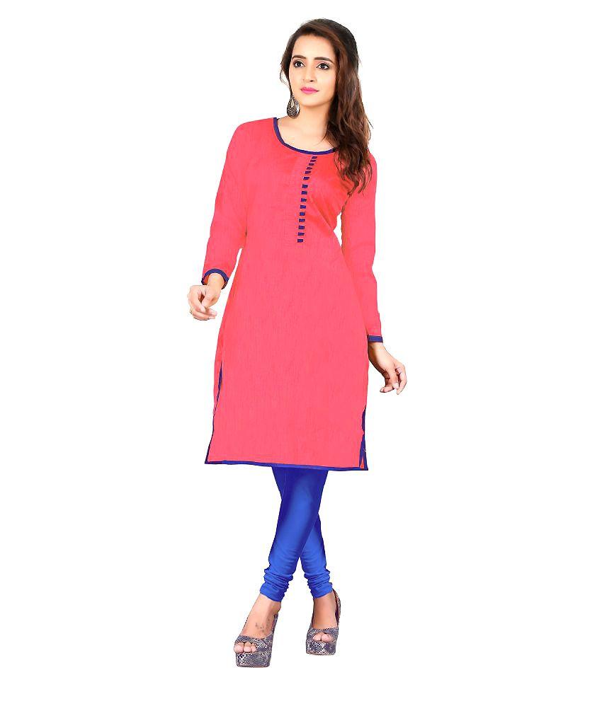Khushali Pink Bangalore Silk Straight Kurti
