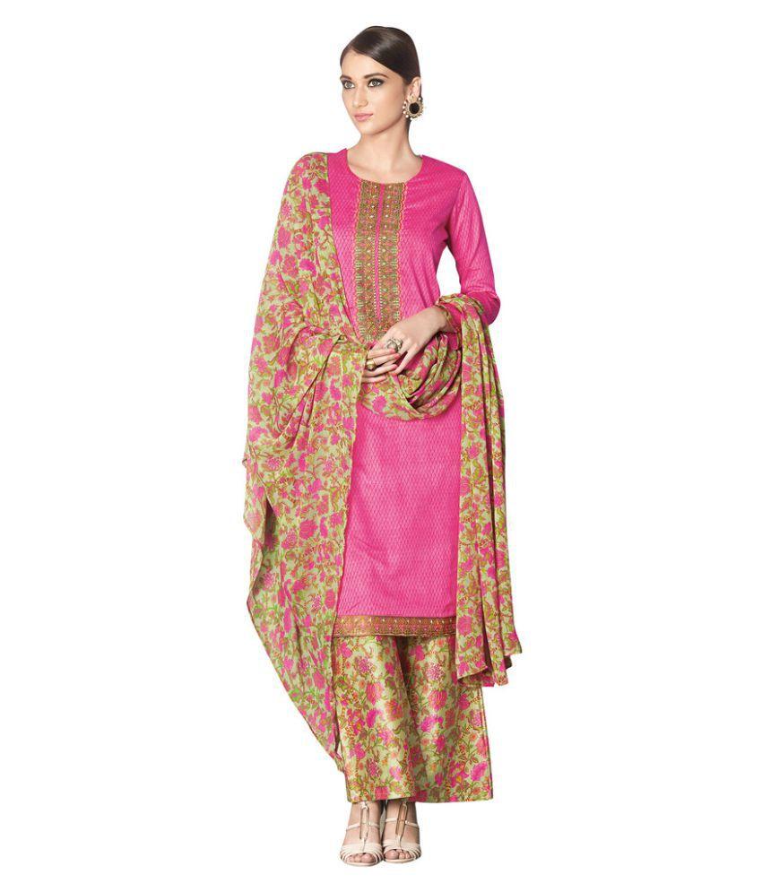 Viva n diva Pink Cotton Dress Material
