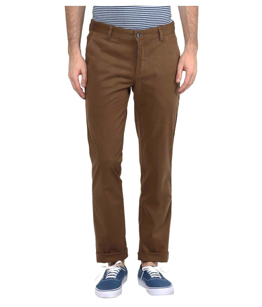 Turtle Brown Slim Flat Trouser